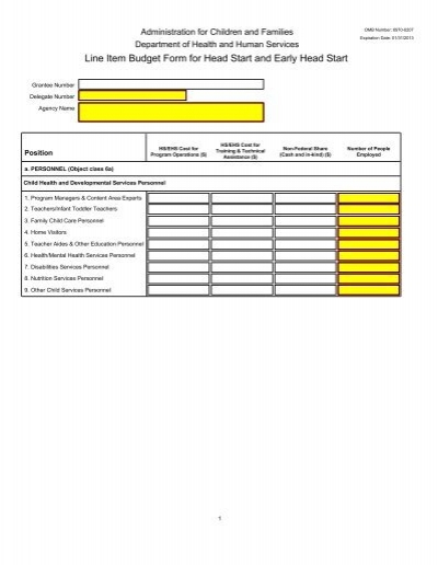 line item budget form for head start and early head grants gov