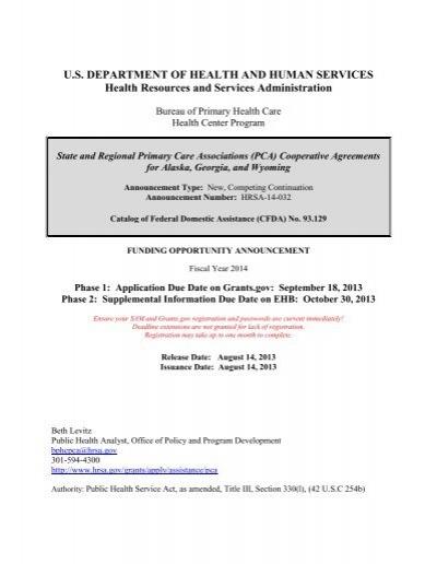 HRSA Funding Opportunity Announcement - Grants gov