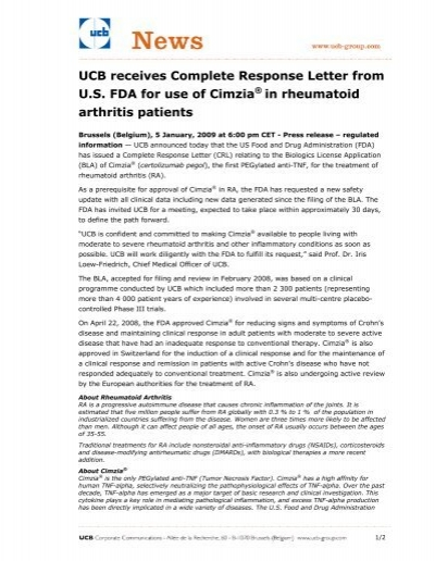 UCB receives plete Response Letter from U S FDA for use of