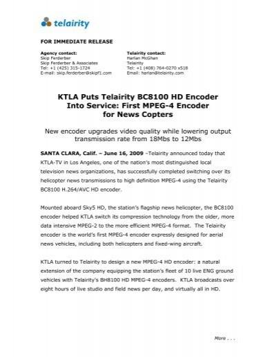 KTLA Puts Telairity BC8100 HD Encoder Into Service: First