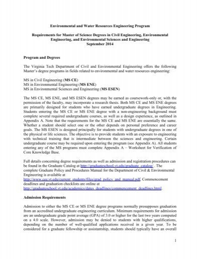 Ms Degree Requirements Pdf Environmental And Water