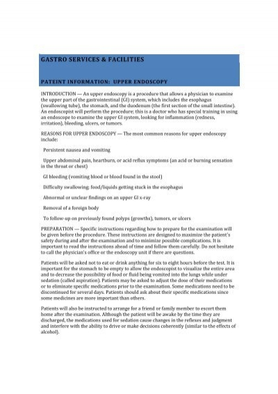 Upper Endoscopy Gastro Services And Facilities