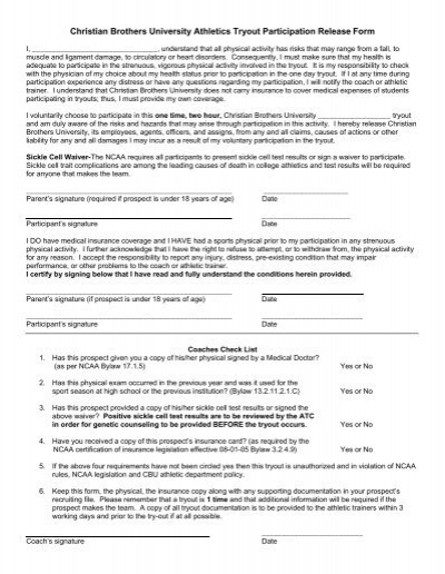 sports physical form ncaa  Student-Athlete Tryout Form - Christian Brothers University ...