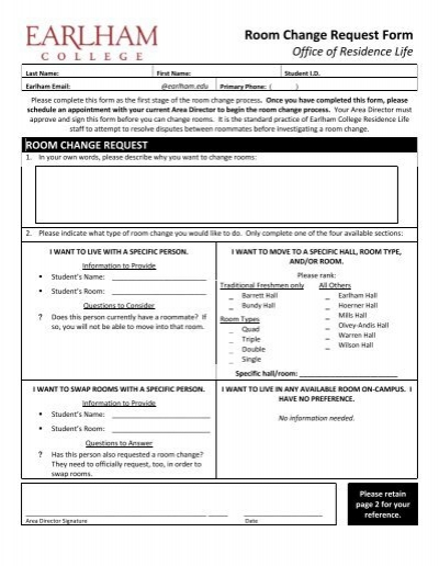 Room Change Request Form Pdf  Earlham College