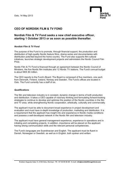 CEO-Nordisk Film TV Fond - Job Description-Application Information