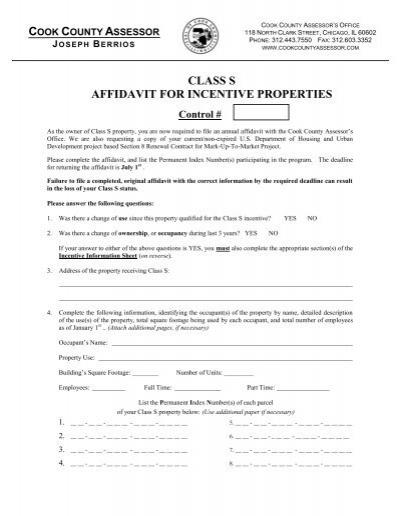 Class S Affidavit - Cook County Assessor's Office