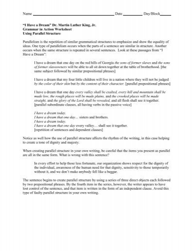 Parallelism Worksheet Pdf Lake Mills Area School District