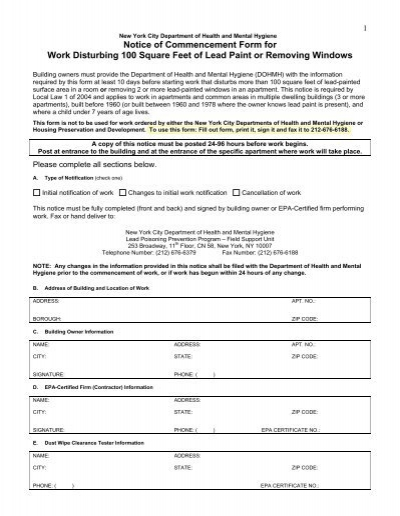 notice of commencement form for work disturbing 100  - nmic