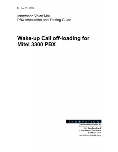 wake up call off loading for mitel 3300 pbx rh yumpu com Mitel MXE Mitel 3000