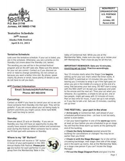 Return Service Requested Tentative Schedule - Alaska Folk Festival