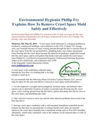 Environmental Hygienist Phillip Fry Explains How To Remove Crawl