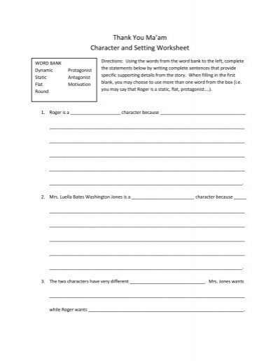Character And Setting Worksheets Esl : Thank you ma am character and setting worksheet
