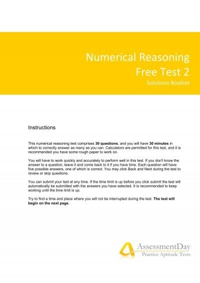numeric reasoning Numerical reasoning test numerical reasoning tests are used to measure a person's general numerical aptitude these tests involve both complex calculations presented in a simple format and simple calculations made by extracting the needed data presented in.
