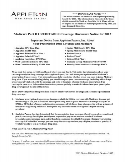 medicare part d creditable coverage disclosure notice for