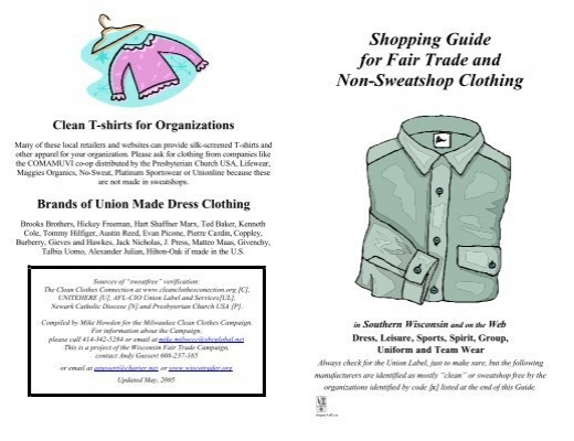 Shopping Guide For Fair Trade And Non Sweatshop Clothing