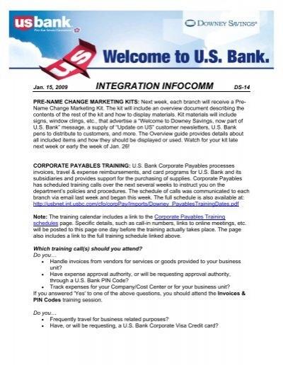 PLEASE READ - U S  Bank