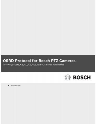 OSRD Protocol for Bosch PTZ Cameras - Bosch Security SystemsYumpu