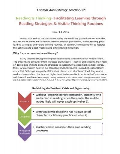 Content Area Literacy Reading Strategies And Thinking Routines