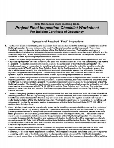 Final Inspection Checklist for Certificate of Occupancy - Farmington ...