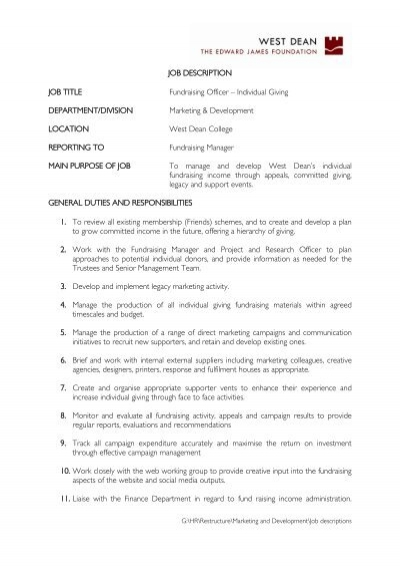 "Job Description Job Title Fundraising Officer €"" Individual"