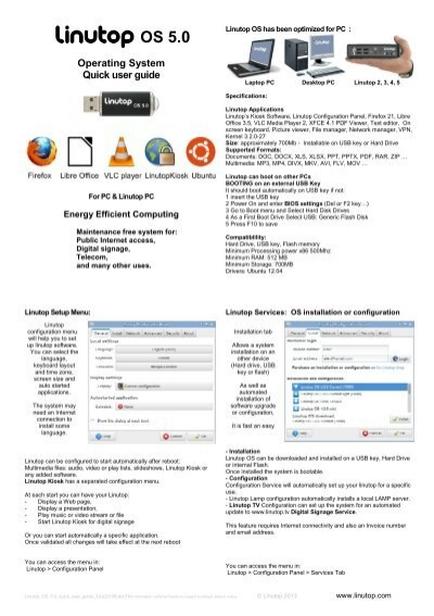 Quick User Guide OS 5 0 - Linutop
