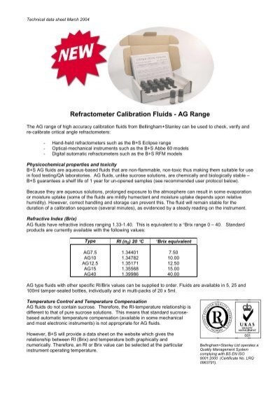 Refractometer Calibration Fluids Ag Range Bellingham And Stanley