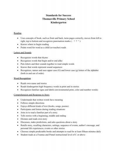 Standards for Success Thomasville Primary School Kindergarten