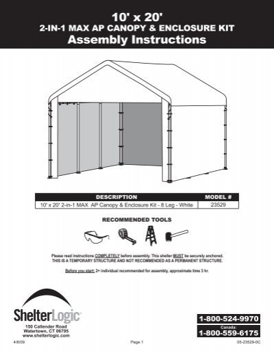 10 X 20 Assembly Instructions
