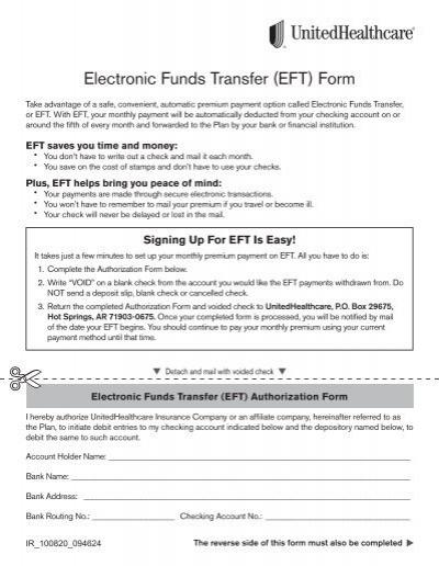 Electronic Funds Transfer Eft Form Unitedhealthcare