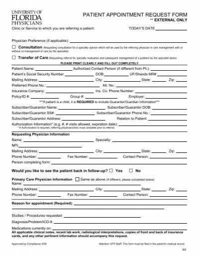 Patient Appointment Request Form