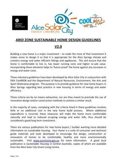 Awesome Arid Zone Sustainable Home Design Guidelines V2.0   Alice Solar City