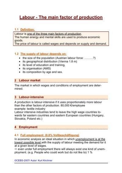 3 main factors of production