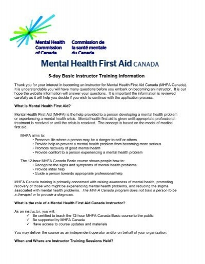 5 Day Basic Instructor Training Information Mental Health First Aid