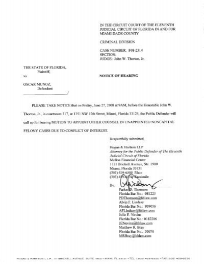 Form 142 notice of motion for appointment of jams notice of hearing on motion to appoint other counsel miami dade altavistaventures Gallery