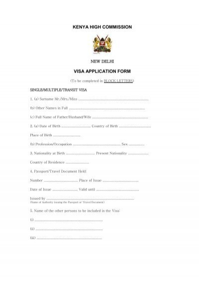 Kenya tourist visa application form - Kenya visa