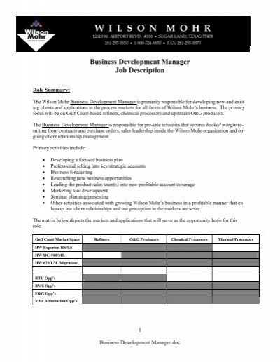 INTL AIRPORT BUSINESS MANAGER BOM Job Description – Business Manager Job Description