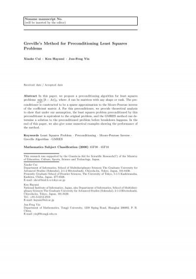 Greville's Method for Preconditioning Least Squares