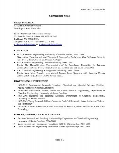Dr  Park's Curriculum Vitae - Washington State University