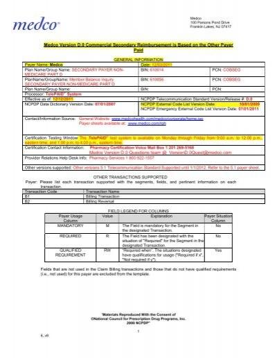 Medco Version D 0 Commercial Secondary Reimbursement is