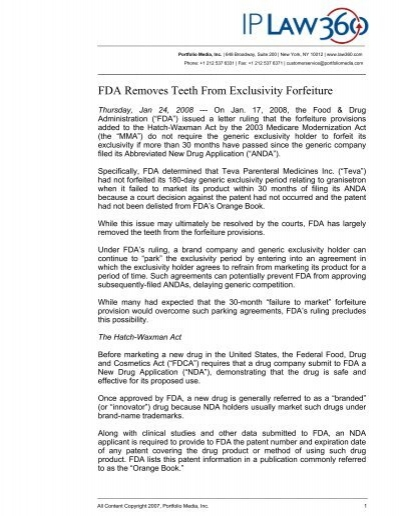 FDA Removes Teeth From Exclusivity Forfeiture - Axinn, Veltrop