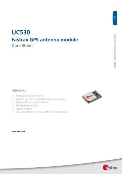 Uc530 Fastrax Gps Antenna Module Data Sheet