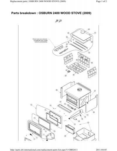 38920137 parts breakdown osburn 2400 wood stove (2009)