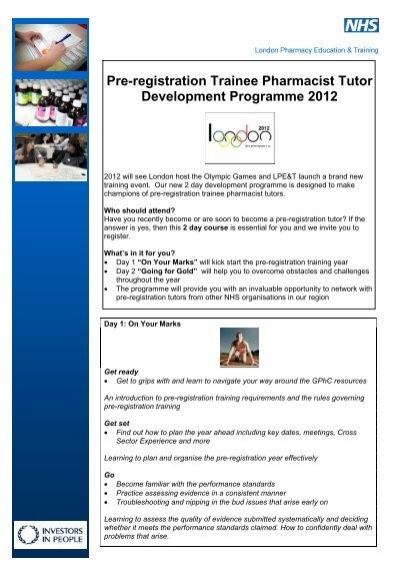 Pre-registration Trainee Pharmacist Tutor Development Programme ...