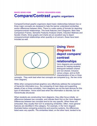 Using Venn Diagrams To Depict Compare Contrast Relationships
