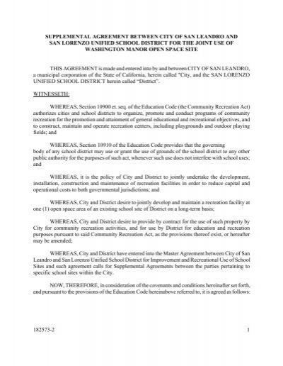 182573 2 1 Supplemental Agreement Between City Of San Joint Use