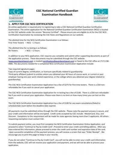 CGC National Certified Guardian Examination Handbook