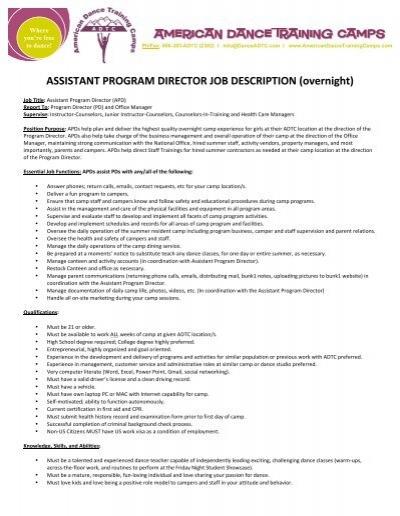 JOB DESCRIPTION Position Program Director Classification – Program Director Job Description