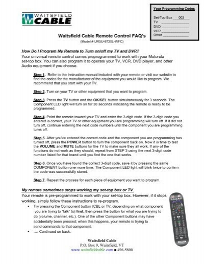 Some Common Questions on the Waitsfield Cable Remote Control