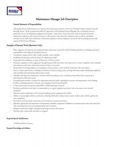 Maintenance Manager Job Description   Park Cedar Rapids