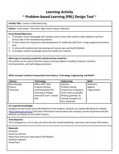 Learning Activity ~ Problem-based Learning (PBL